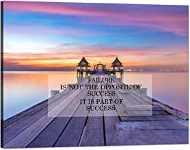 Motto Inspirational Wall Art Motivational Quotes Canvas Painting Wooden Jetty at Sea with Cloud and Sky Pictures Success T...