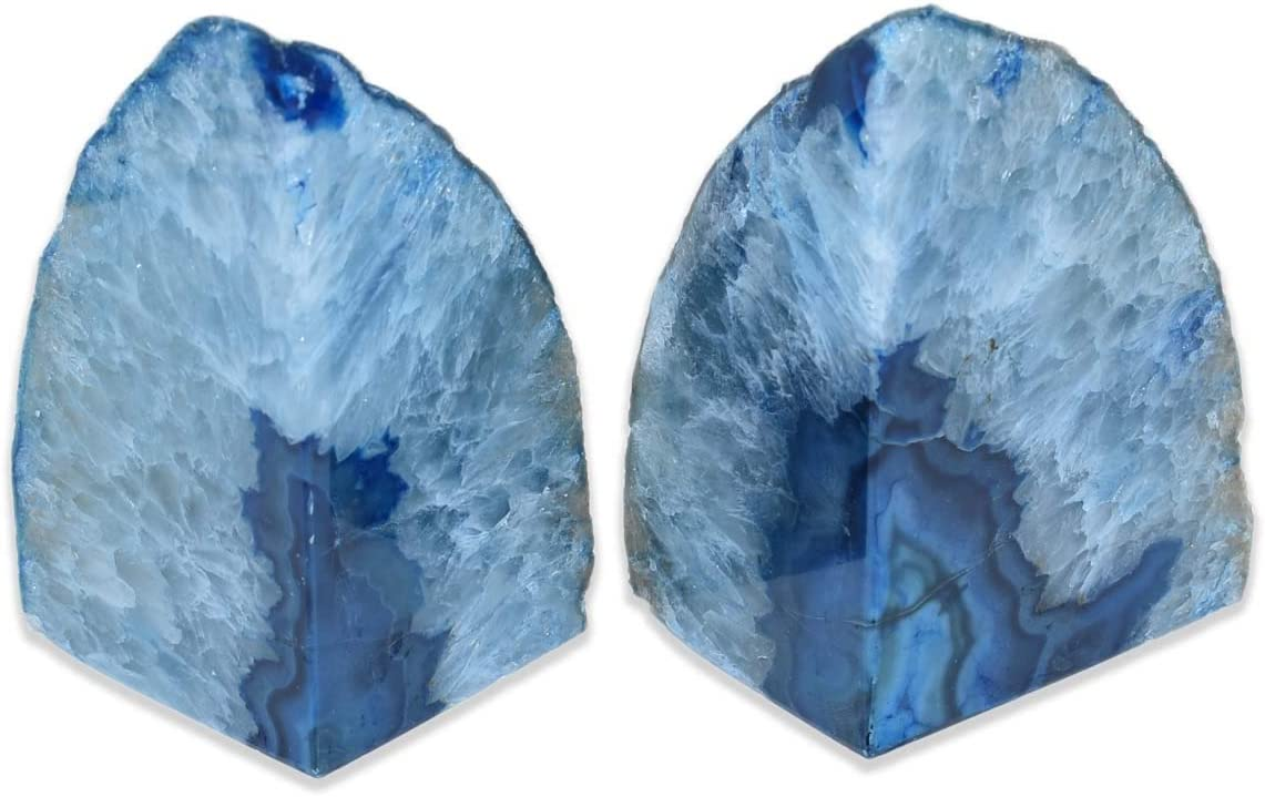Nature's Decorations Popularity - Luxury Blue Agate Non Bookends 2 Set of Tulsa Mall
