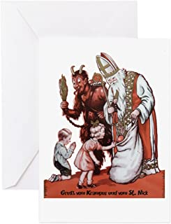 CafePress - St. Nick & The Krampus Greeting Cards - Greeting Card (20-pack), Note Card with Blank Inside, Birthday Card Glossy