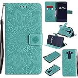 pinlu® PU Leder Tasche Etui Schutzhülle für LG V10 Lederhülle Schale Flip Cover Tasche mit Standfunktion Sonnenblume Muster Hülle (Grün)