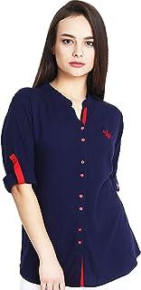 86d55090 Mitaha Navy Blue Shirt Women Girls Embroidered Rayon Cotton Top/Shirts for  Dailywear Casual Women