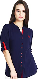 Mitaha Navy Blue Red Beige Black Shirt Women Girls Embroidered Rayon Cotton Top/Shirts for Dailywear Casual Women/Girls Tops
