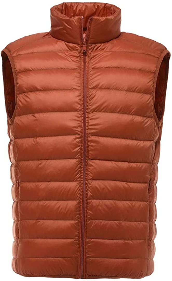 Men Sleeveless Jacket Winter Ultralight White Duck Down Male Autumn Vest Mens Windproof Warm Waistcoat Orange M