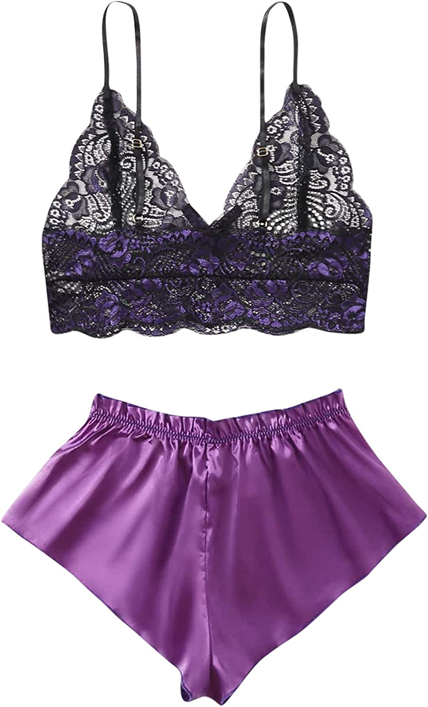 Women's 2 Pieces Chemise Satin Lingerie Lace V-Neck Shorts Set Sexy Babydoll Pajamas for Women Sleepwear