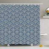 Hotyle Cortina De Ducha con Ganchos 150X180 Cm Lamella Sashiko Círculo Tradicional Popular Vintage con Seigaiha Texturas De Azulejos Japoneses