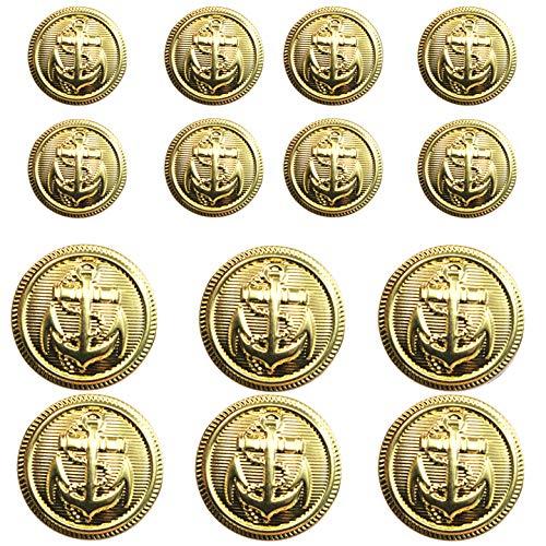 14 Pieces Metal Blazer Button Set - Naval Anchor Crest - for Blazer, Suits, Sport Coat, Uniform, Jacket (Gold 18mm 23mm)