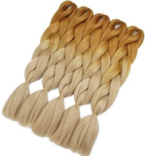 Crochet Braids Ombre Jumbo Braiding Hair Extensions Synthetic Yaki Straight 5 Pieces 2 Tone (Brown Blonde)