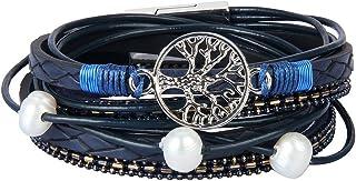 JOYMIAO Albero della Vita Bracciale Intrecciato in Pelle Bracciale Avvolgente Inciso con Perle per Donna e Uomo (Blu)