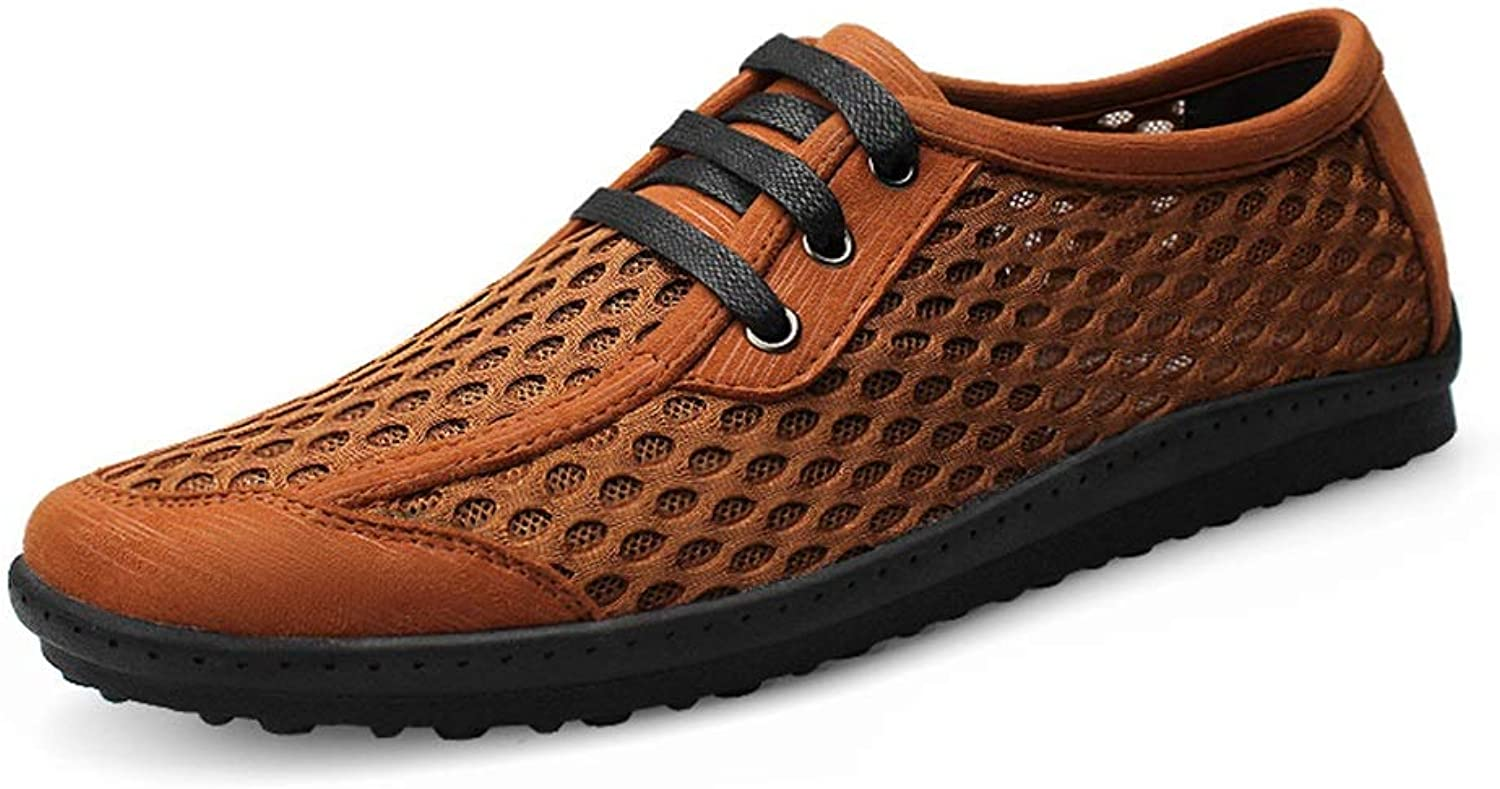 Hilotu Men's Perforated Breathable Athletic shoes Simple Style Mesh Fabric Outdoor Hiking Driving shoes AntiSlip Round Toe shoes (color   Brown, Size   8.5 M US)