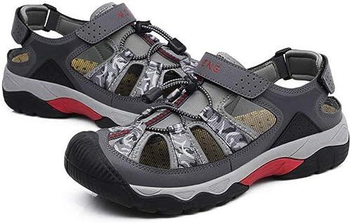 Chaussures de sport pour hommes Sport Toile Toile d'été Chaussures de plage décontractées Randonnée en plein air Anti-collants Velcro Sangles Flops (Couleur  B, Taille  41) ( Couleuré   On , Taille   44 )