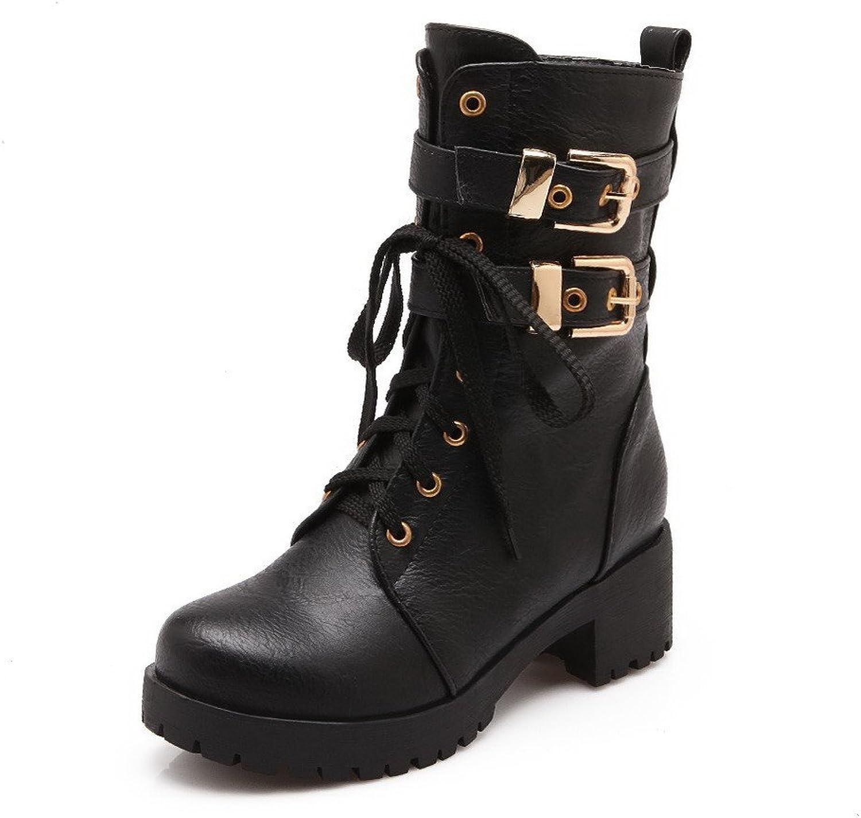 WeenFashion Women's Low-top Zipper Soft Material Kitten-Heels Closed Round Toe Boots