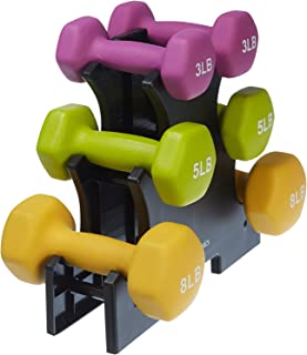 AmazonBasics 32 Pounds Neoprene Workout Dumbbell Weights with Weight Rack - 3 Pairs of Dumbbells