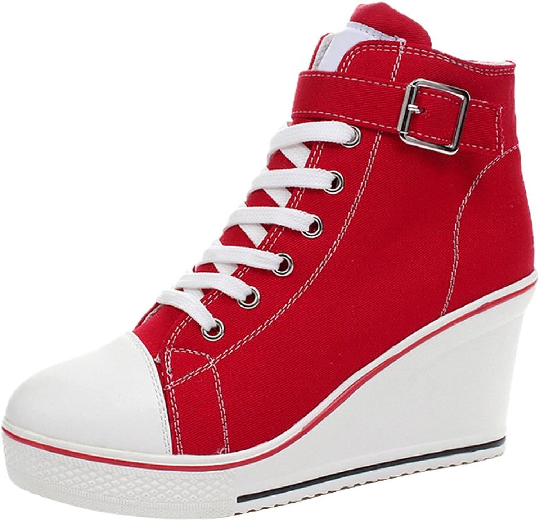 OCHENTA Women's Canvas High-Heeled Platform Wedge Fashion Sneaker Pump shoes