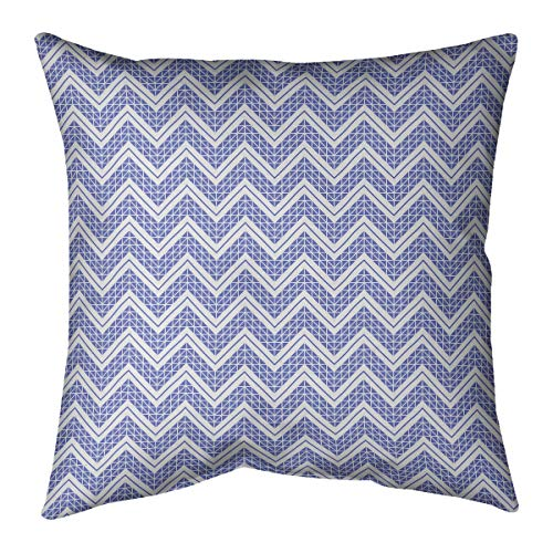 Fantastic Deal! ArtVerse Rhonda Cheval Reverse Classic Hand Drawn Chevrons Pillow (w/Removable Insert) – Cotton Twill, 16 x 16, Blue
