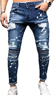 Nansiche Mens Ripped Slim Fit Tapered Leg Jeans Destroyed Denim Pants Ripped Knee Trousers