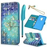 MOLLYCOOCLE Galaxy S9 Case(Not Plus), 3D Relief Pattern Wallet Case PU Leather...