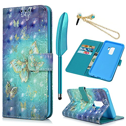 MOLLYCOOCLE Galaxy S9 Case(Not Plus), 3D Relief Pattern Wallet Case PU Leather Soft TPU Inner Bumper Ultra Slim Fit Protective Cover for Samsung Galaxy S9, Blue Butterfly