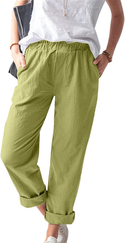 High Waist Wide Leg Pants for Women Summer Business Casual Crop Dress Pants Pockets Cotton Linen Stretch Pull On Capris