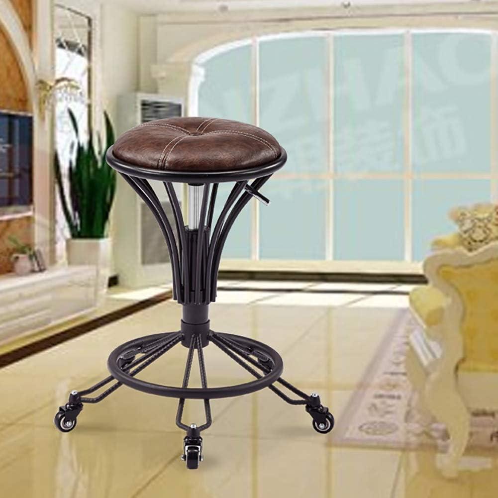 Chaise multifonctionnelle Tabouret Haut, Levage Rétro Rotatif Tapissé Avec Chaise De Maison De Cuisine De Café De Petit Déjeuner De Barre De Roue (Color : Crack Black) Brown