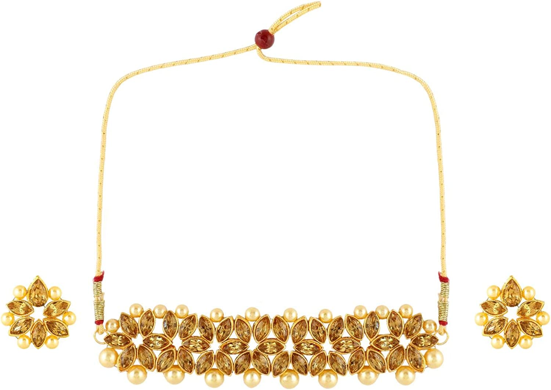 Efulgenz Indian Bollywood Faux Kundan Pearl Crystal Rhinestone Bridal Wedding Choker Necklace Earrings Jewelry Set