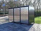 3 Mülltonnenboxen Edeldesign No.1 für 240 Liter Mülltonnen Anthrazit - Edelstahl / witterungsbeständig durch Pulverbeschichtung / mit Klappdeckel und Fronttür aus Edelstahl