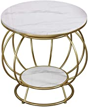 Living Room Furniture Metal Nordic 2-Tier Marble Side Table Coffee Table, Simple Creative Iron Round Table, Bedroom Living...