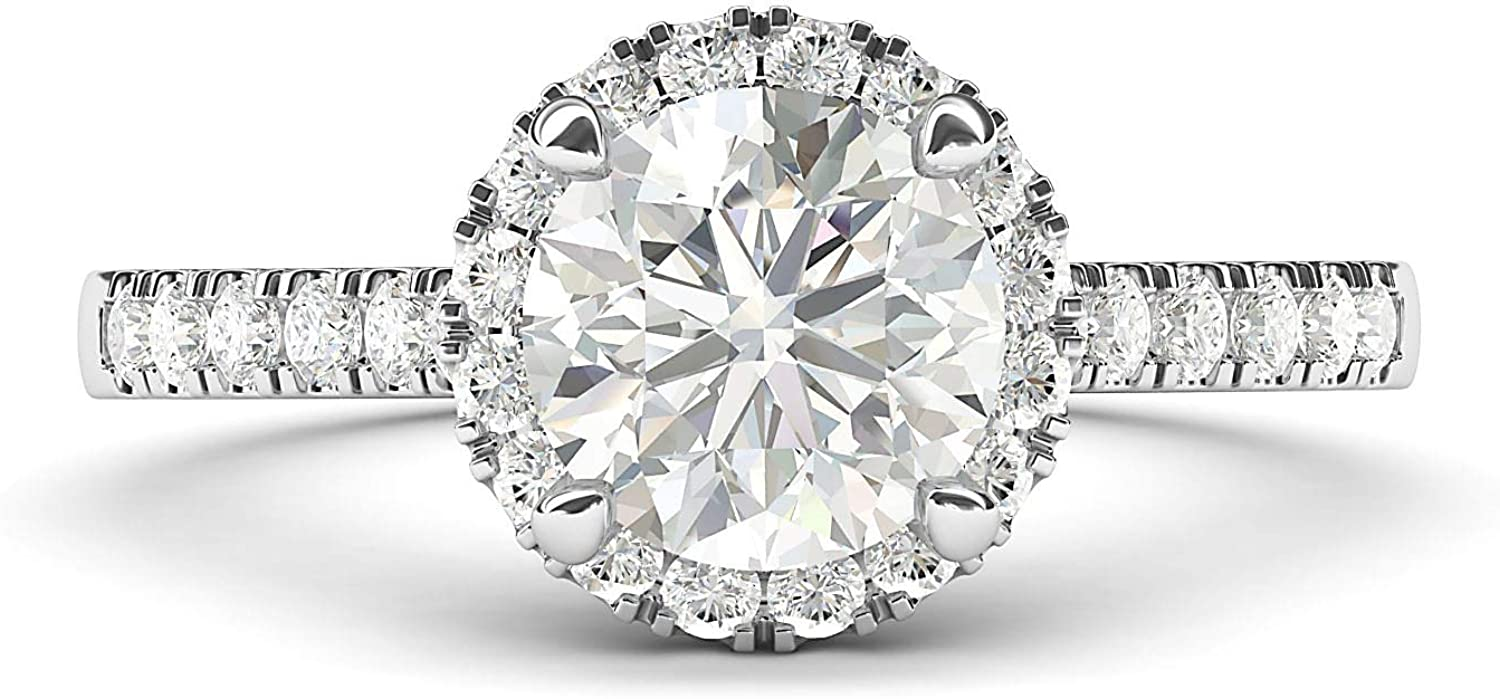 14k White Gold Classic Simulated Round Brilliant Cut Diamond Halo Engagement Ring with Side Stones