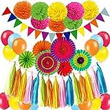 Zerodeco Party Dekoration Papier Pompoms, Aufhängen Fächer, Dreieckige Wimpel und hängende Glitter Punkt Papier Girlande Dekorpapier für Party Hochzeit Geburtstag Festival Weihnachten