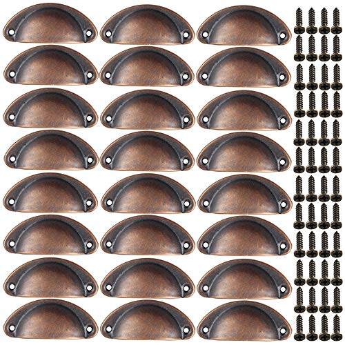 Xinlie Pomelli Vintage Shell Porta Cassetto Armadietto Manopole Ferro Mobili Maniglia Armadio Manopola Shell Manopole del Cassetto Maniglia di Metallo per Porte Armadio Pomello 24PCS (Bronzo Rosso)
