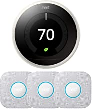 Nest Learning Thermostat - 3rd Generation w/ 3-Pack Nest Protect Smoke and CO Alarm, Battery (White)