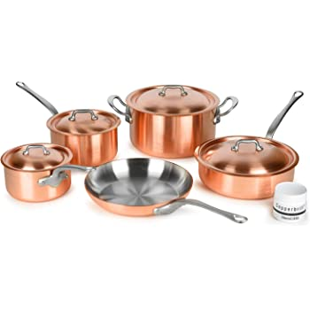 Mauviel 2.5mm Brushed Copper Cookware Set, 9 Piece - Made in France - Stainless Steel Handles (M'heritage M250S)