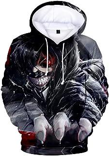 Anime Tokyo Ghoul Hoodie Sudadera con Capucha con Estampado 3D Sudadera de Kaneki Ken Anime Hoodie Jacket Costume de Cospl...