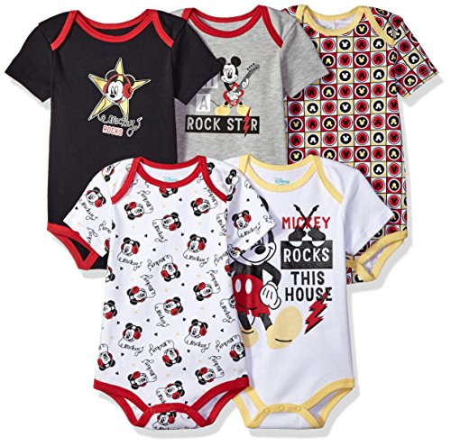 Product Image of the Disney Baby Boys' Mickey 5 Pack Bodysuits, Multi/Anthracite Black, 12M