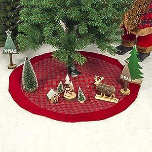 Décoration de Noël Double Plaid Fabric Velvet Bordure 100 Cm Jupe De Sapin De Noël Fond De Sapin De Noël