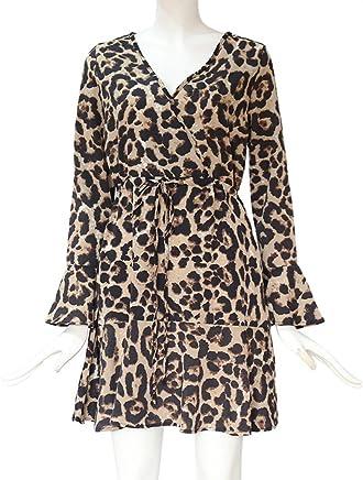 0155bf79448 Women s Tiger Pattern Print Mini Tunic Dress Boho Retro Sexy Split Beach  Slip Dress JHKUNO
