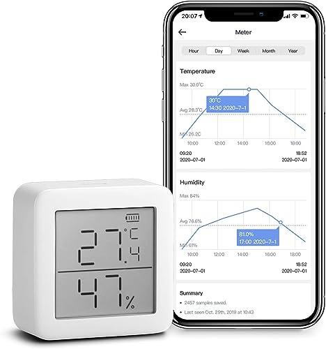 SwitchBot Thermomètre Hygrometer Hygromètre sans fil intérieur – Capteur d'humidité de la température, Add Hub Plus/M...
