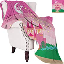 Girls Bedding Microfiber Blanket Magic Fantasy Fairy Tale Princess Castle with Pixie in Sky Fictional Dream Kingdom Super Soft and Comfortable Luxury Bed Blanket W80 x L60 Inch Pink Green
