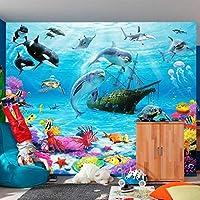 HGFHGD 3D壁画壁紙潜水艦イルカ珊瑚写真ポスター子供部屋寝室の背景壁3D壁紙家の装飾
