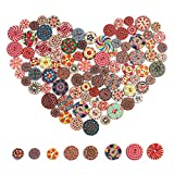 YIZIQSS 300 PCS Wooden Buttons with Random Color Patterns, 2-Hole Wooden Buttons, Old-Fashioned Buttons for Hand-Made DIY Sewing Process Decorative Buttons 15mm / 0.6in, 20mm / 0.78in, 25mm / 1in