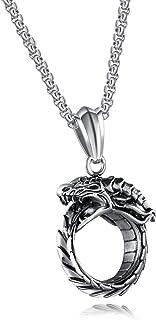 JAJAFOOK Fashion Necklaces Titanium Steel Dragon Ring Eternal Life Circle Punk Pendant Necklace for Mens Boys