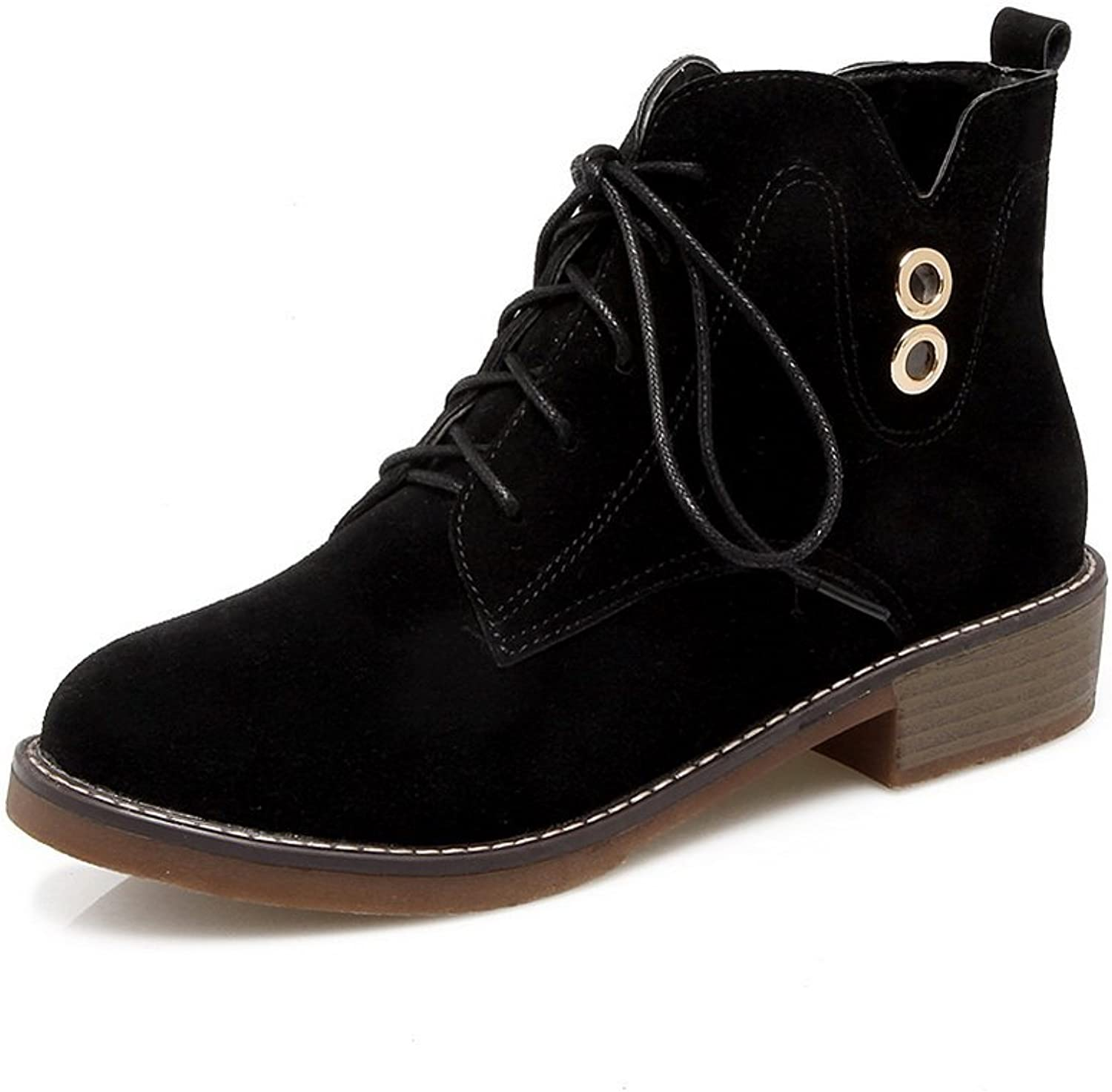 1TO9 Womens Boots Closed-Toe Lace-Up Adjustable-Strap Kitten-Heel Warm Lining Waterproof Soft Ground Nubuck Dress Urethane Boots MNS02630