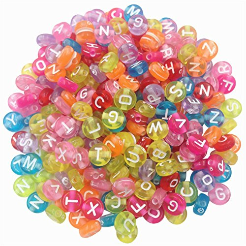 AKOAK Pack of 200 Mixed 4 x 7 mm Round Candy Colors Acrylic Plastic Beads with White Letters/Alphabet Letter'A-z' Cube Beads for Bracelets,Necklaces, Key Chains and Kid Jewelry