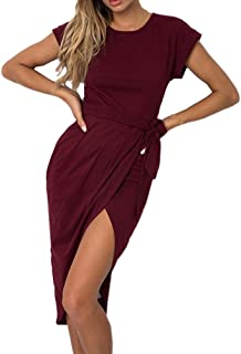 d9e2963f4ea1 Women Dress Sexy Off Shoulder Bodycon Club Casual Dress with Belt Long  Sleeve Cotton Slim Fit