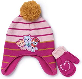 Berkshire Fashions Nickelodeon Girls' Toddler Paw Patrol Hat and Mittens Cold Weather Set, Pink, 2T-4T