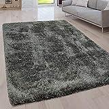 Paco Home Hochflor Wohnzimmer Teppich Waschbar Shaggy Uni In Versch. Größen u. Farben, Farbe:Grau, Grösse:200x280 cm
