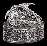 Drachen Schatulle silberfarben - Gothic Schmuck Dose Box Fantasy Figur