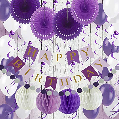 Air Fit Purple and White Birthday Party Decorations Set Pack Supplies Birthday Garland Banner Bunting with 54 Pieces For Boy or Girl Decorations Women or Man Birthday Party Supplies Pack