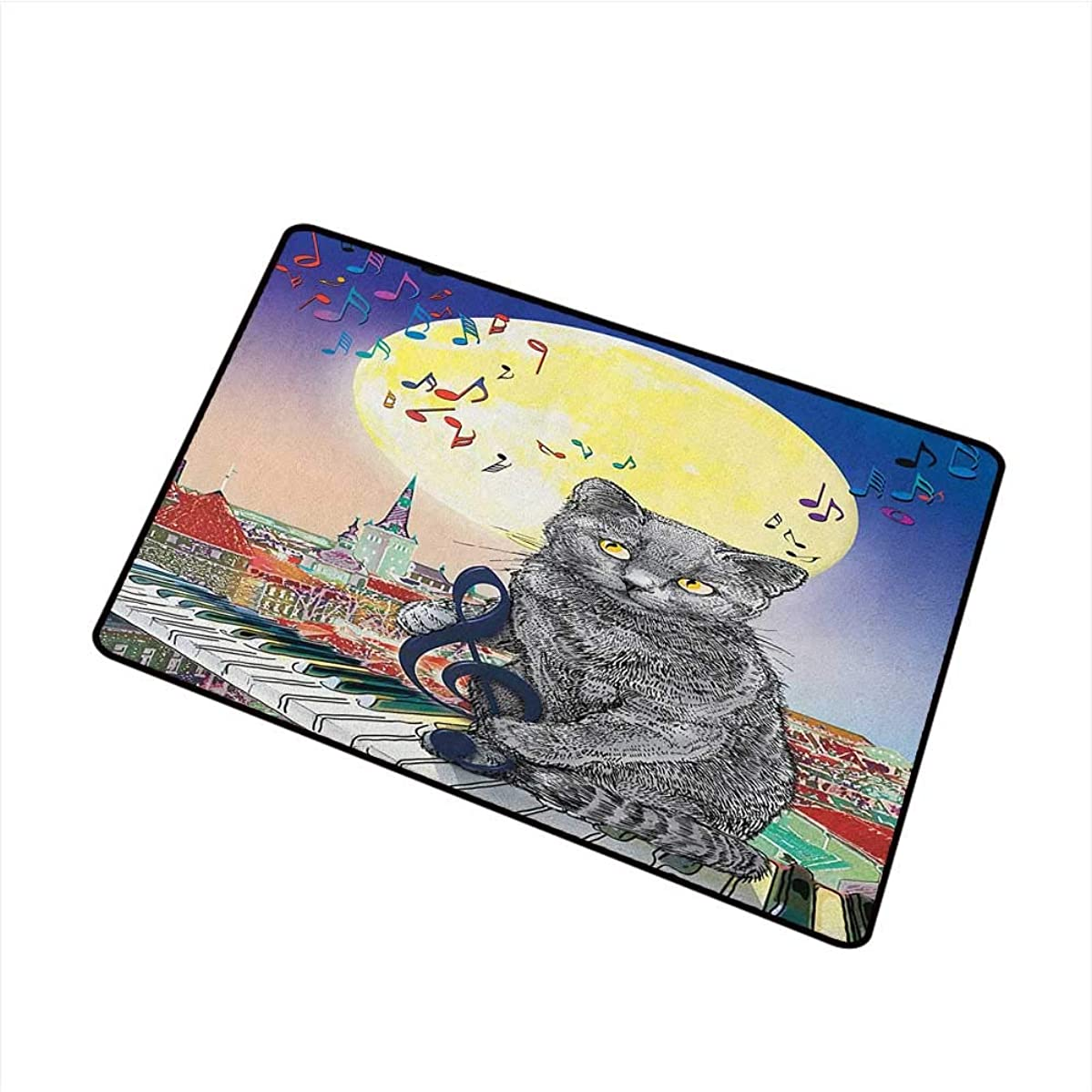 Wang Hai Chuan City Welcome Door mat Musical Notes Cat with The Keyboard on Rooftops in Night Sky Old Town Full Moon Art Print Door mat is odorless and Durable W15.7 x L23.6 Inch Multi