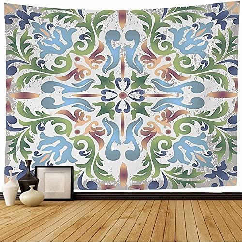 Tapiz Tapices de pared,Adornos ornamentados vintage Mapa redondo azul Cerámica en azulejos de estilo antiguo Texturas Letrero curvo Tapiz sin costuras para dormitorio-60_x_50_inches