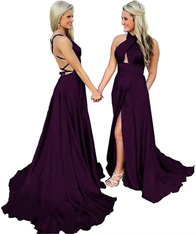 EEFZL Women's Halter Satin Prom Dresses Long Backless Side Split Evening Gowns